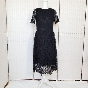 ZARA Short Sleeve Black Knit Midi Dress